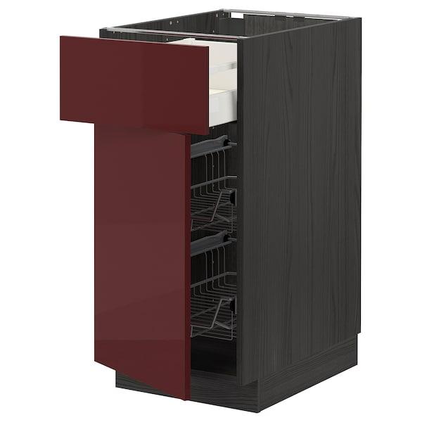 METOD / MAXIMERA Mobile base, cestello/cassetto/anta, nero Kallarp/lucido color mogano, 40x60 cm