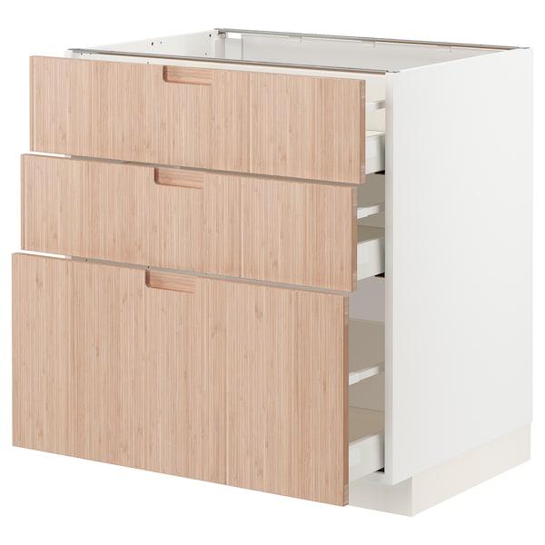 METOD / MAXIMERA Mobile base con 3 cassetti, bianco/Fröjered bambù chiaro, 80x60 cm