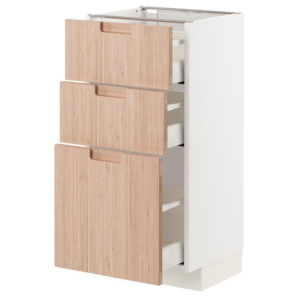 METOD / MAXIMERA Mobile base con 3 cassetti, bianco/Fröjered bambù chiaro, 40x37 cm