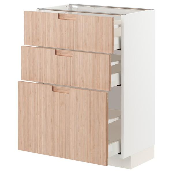 METOD / MAXIMERA Mobile base con 3 cassetti, bianco/Fröjered bambù chiaro, 60x37 cm