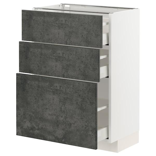 METOD / MAXIMERA Mobile base con 3 cassetti, bianco/Kalhyttan effetto cemento grigio scuro, 60x37 cm