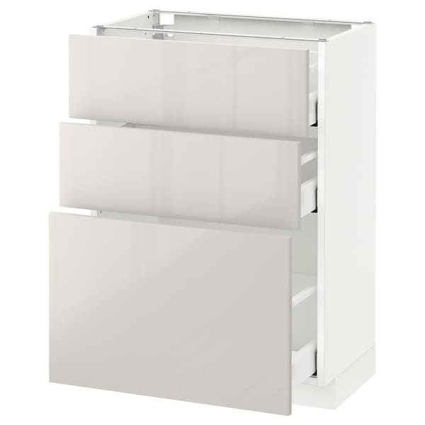 METOD / MAXIMERA Mobile base con 3 cassetti, bianco/Ringhult grigio chiaro, 60x37 cm