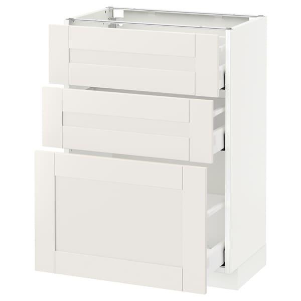 METOD / MAXIMERA Mobile base con 3 cassetti, bianco/Sävedal bianco, 60x37 cm