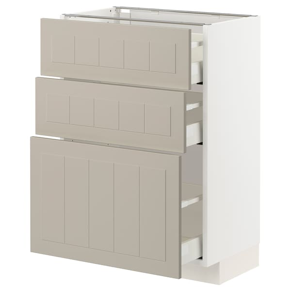 METOD / MAXIMERA Mobile base con 3 cassetti, bianco/Stensund beige, 60x37 cm