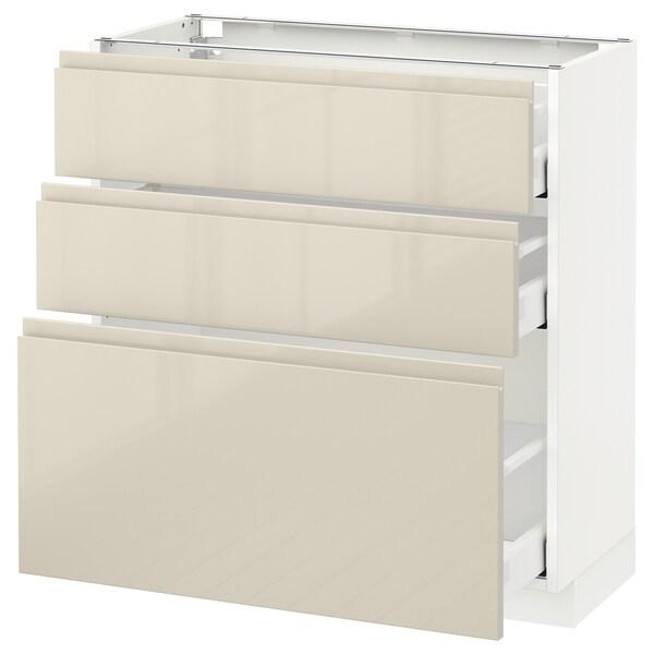 METOD / MAXIMERA Mobile base con 3 cassetti, bianco/Voxtorp beige chiaro lucido, 80x37 cm