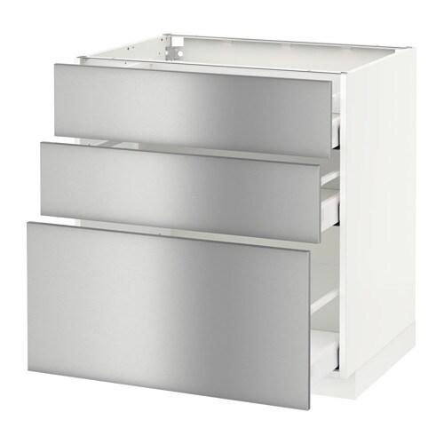 METOD / MAXIMERA Mobile base con 3 cassetti - bianco, Grevsta inox ...