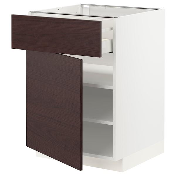 METOD / MAXIMERA Mobile base con cassetto/anta, bianco Askersund/marrone scuro effetto frassino, 60x60 cm