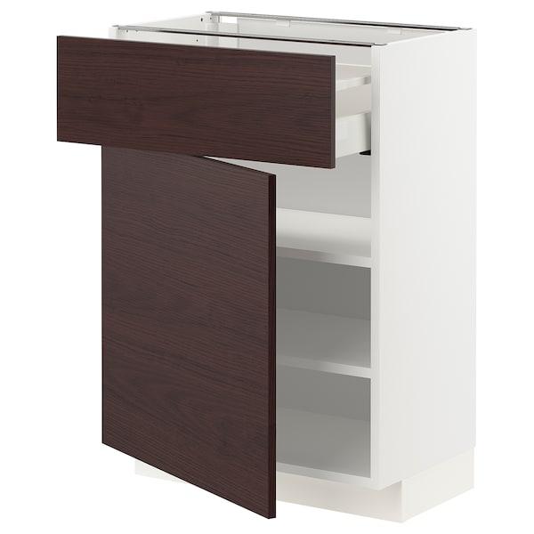 METOD / MAXIMERA Mobile base con cassetto/anta, bianco Askersund/marrone scuro effetto frassino, 60x37 cm