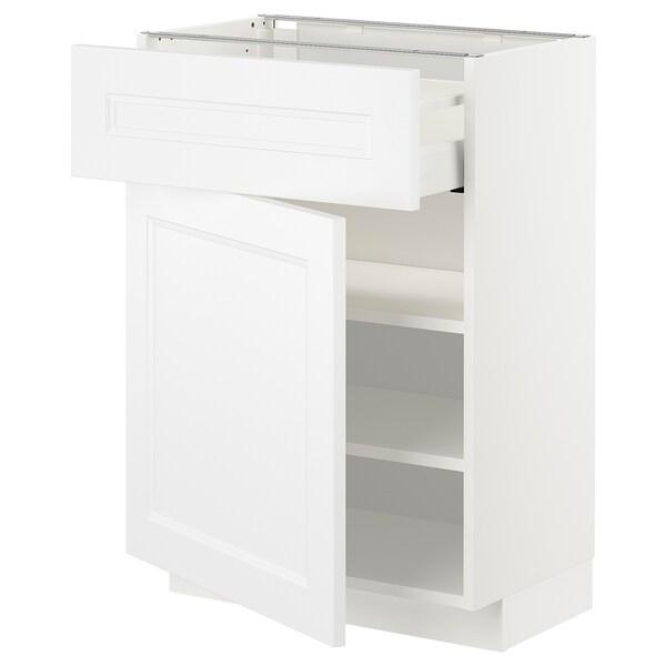 METOD / MAXIMERA Mobile base con cassetto/anta, bianco/Axstad bianco opaco, 60x37 cm
