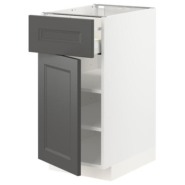 METOD / MAXIMERA Mobile base con cassetto/anta, bianco/Axstad grigio scuro, 40x60 cm