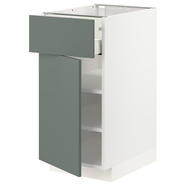 METOD / MAXIMERA Mobile base con cassetto/anta, bianco/Bodarp grigio-verde, 40x60 cm
