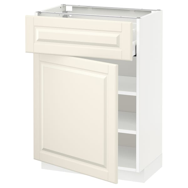 METOD / MAXIMERA Mobile base con cassetto/anta, bianco/Bodbyn bianco sporco, 60x37 cm