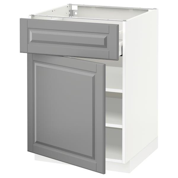 METOD / MAXIMERA Mobile base con cassetto/anta, bianco/Bodbyn grigio, 60x60 cm