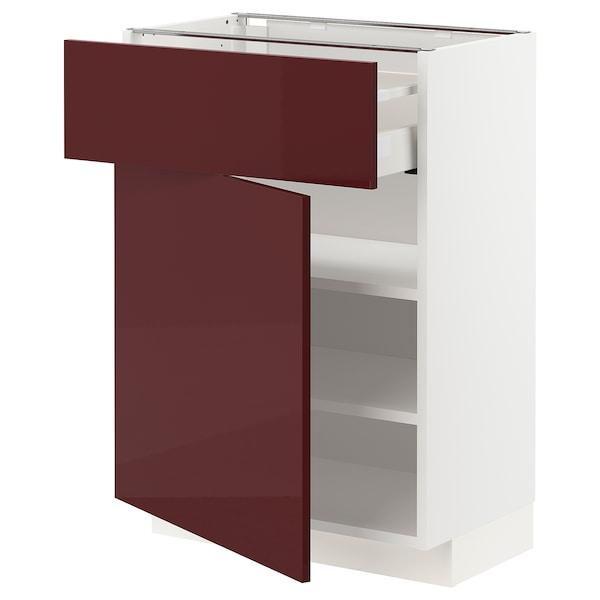 METOD / MAXIMERA Mobile base con cassetto/anta, bianco Kallarp/lucido color mogano, 60x37 cm