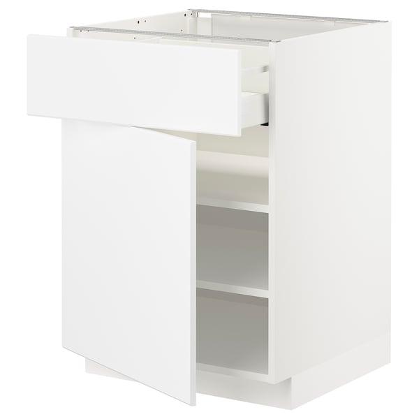 METOD / MAXIMERA Mobile base con cassetto/anta, bianco/Kungsbacka bianco opaco, 60x60 cm
