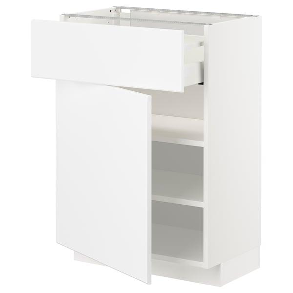 METOD / MAXIMERA Mobile base con cassetto/anta, bianco/Kungsbacka bianco opaco, 60x37 cm