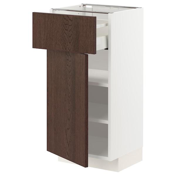 METOD / MAXIMERA Mobile base con cassetto/anta, bianco/Sinarp marrone, 40x37 cm