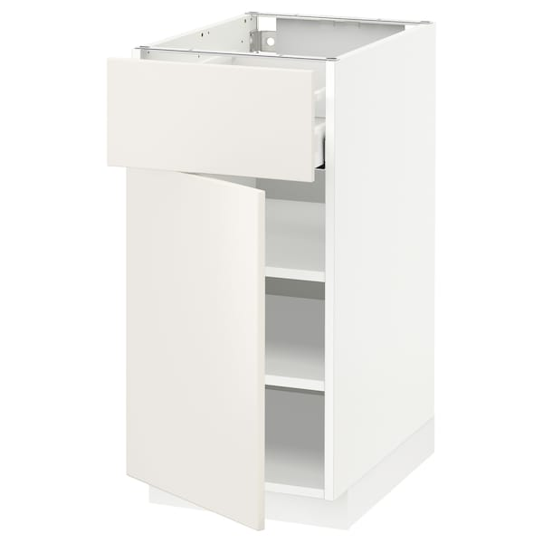 METOD / MAXIMERA Mobile base con cassetto/anta, bianco/Veddinge bianco, 40x60 cm