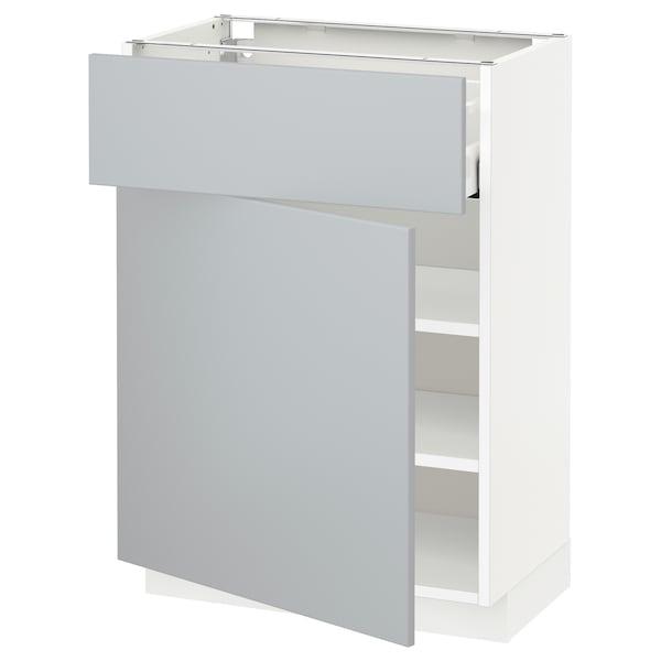 METOD / MAXIMERA Mobile base con cassetto/anta, bianco/Veddinge grigio, 60x37 cm