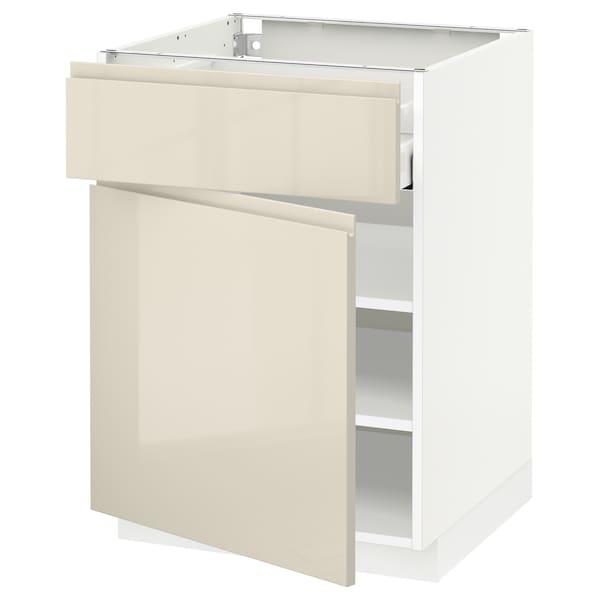 METOD / MAXIMERA Mobile base con cassetto/anta, bianco/Voxtorp beige chiaro lucido, 60x60 cm