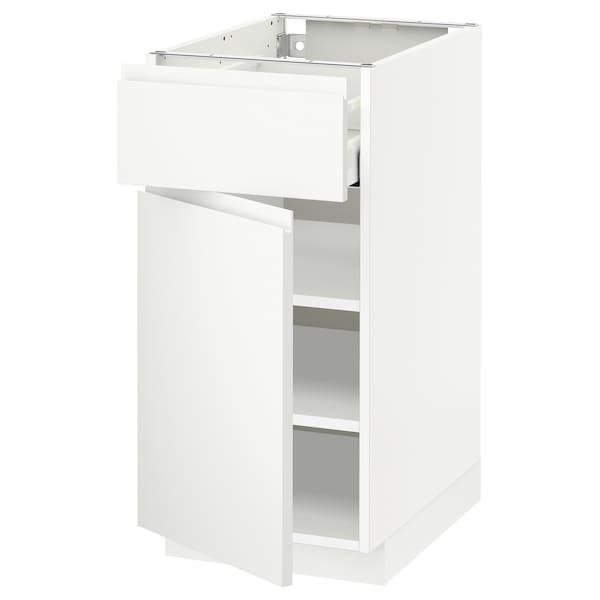 METOD / MAXIMERA Mobile base con cassetto/anta, bianco/Voxtorp bianco opaco, 40x60 cm