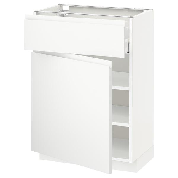 METOD / MAXIMERA Mobile base con cassetto/anta, bianco/Voxtorp bianco opaco, 60x37 cm
