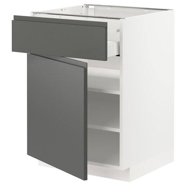 METOD / MAXIMERA Mobile base con cassetto/anta, bianco/Voxtorp grigio scuro, 60x60 cm