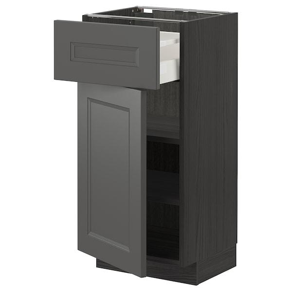 METOD / MAXIMERA Mobile base con cassetto/anta, nero/Axstad grigio scuro, 40x37 cm
