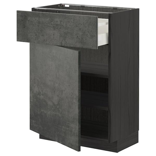 METOD / MAXIMERA Mobile base con cassetto/anta, nero/Kalhyttan effetto cemento grigio scuro, 60x37 cm