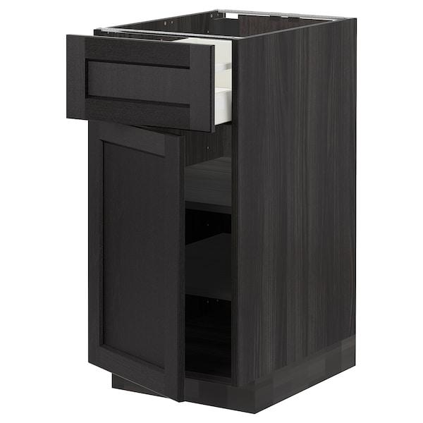 METOD / MAXIMERA Mobile base con cassetto/anta, nero/Lerhyttan mordente nero, 40x60 cm