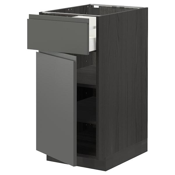 METOD / MAXIMERA Mobile base con cassetto/anta, nero/Voxtorp grigio scuro, 40x60 cm