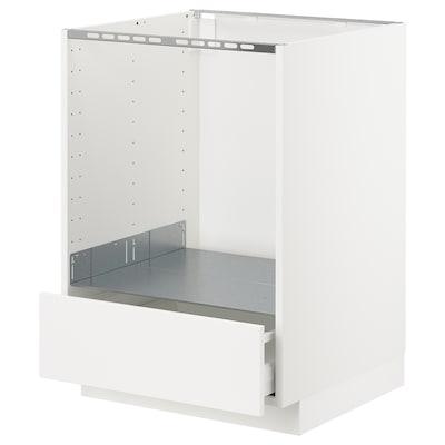 METOD / MAXIMERA Mobile base per forno e cassetto, bianco/Veddinge bianco, 60x60 cm