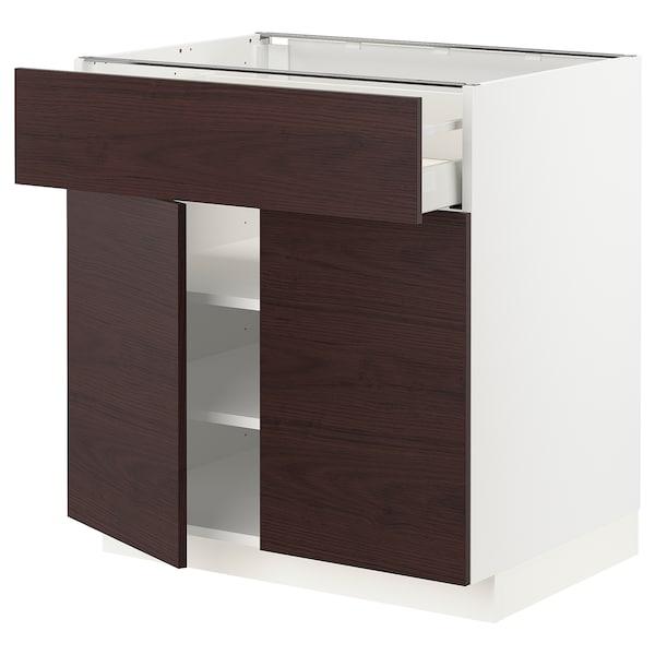 METOD / MAXIMERA Mobile con cassetto/2 ante, bianco Askersund/marrone scuro effetto frassino, 80x60 cm