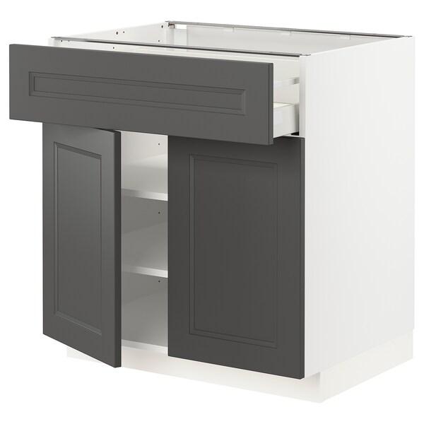 METOD / MAXIMERA Mobile con cassetto/2 ante, bianco/Axstad grigio scuro, 80x60 cm