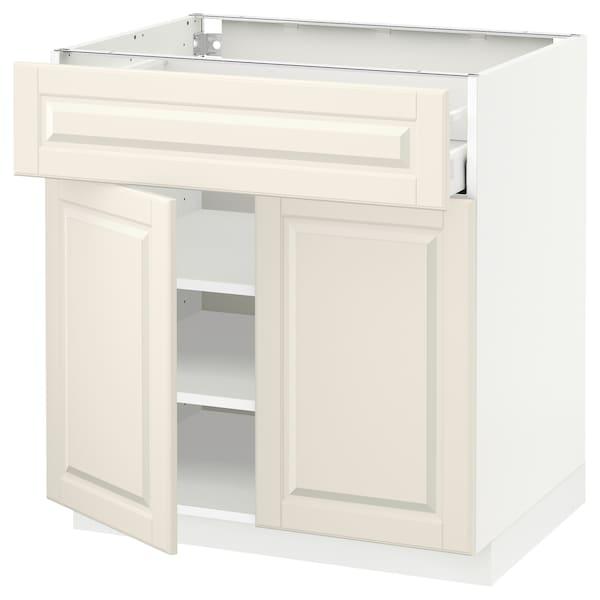 METOD / MAXIMERA Mobile con cassetto/2 ante, bianco/Bodbyn bianco sporco, 80x60 cm