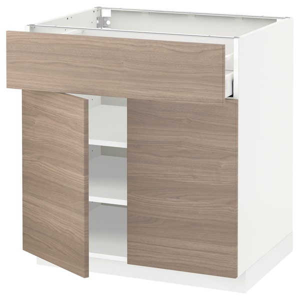 METOD / MAXIMERA Mobile con cassetto/2 ante, bianco/Brokhult grigio chiaro, 80x60 cm
