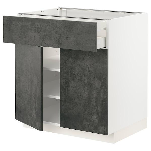 METOD / MAXIMERA Mobile con cassetto/2 ante, bianco/Kalhyttan effetto cemento grigio scuro, 80x60 cm