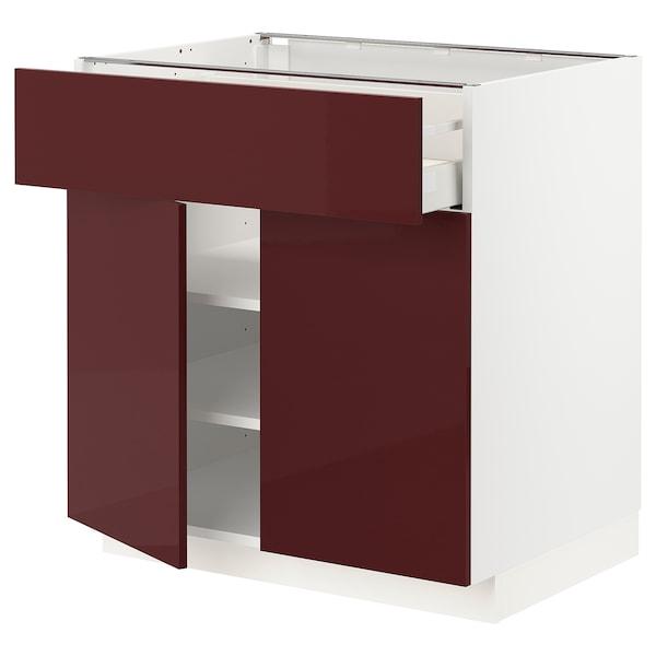 METOD / MAXIMERA Mobile con cassetto/2 ante, bianco Kallarp/lucido color mogano, 80x60 cm