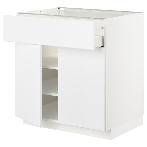 METOD / MAXIMERA Mobile con cassetto/2 ante, bianco/Kungsbacka bianco opaco, 80x60 cm