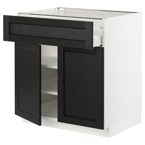 METOD / MAXIMERA Mobile con cassetto/2 ante, bianco/Lerhyttan mordente nero, 80x60 cm