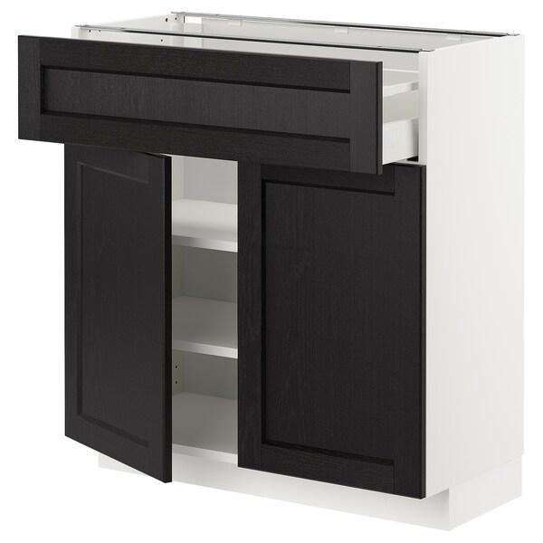 METOD / MAXIMERA Mobile con cassetto/2 ante, bianco/Lerhyttan mordente nero, 80x37 cm