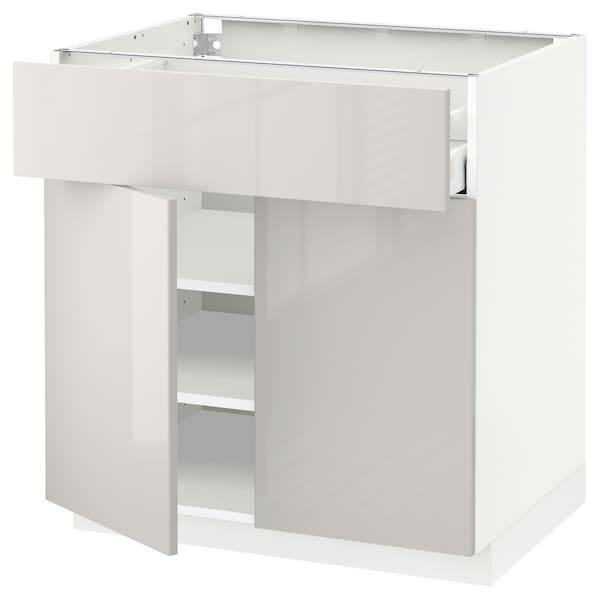 METOD / MAXIMERA Mobile con cassetto/2 ante, bianco/Ringhult grigio chiaro, 80x60 cm
