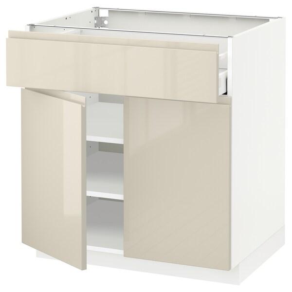 METOD / MAXIMERA Mobile con cassetto/2 ante, bianco/Voxtorp beige chiaro lucido, 80x60 cm