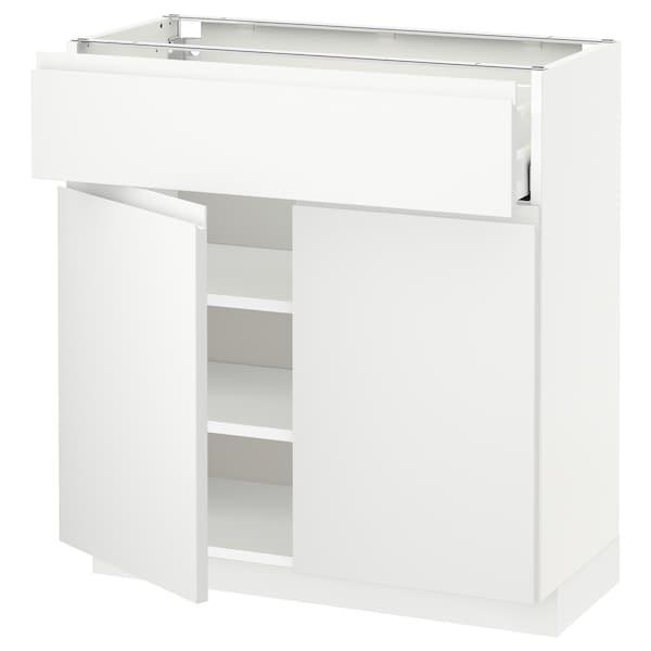 METOD / MAXIMERA Mobile con cassetto/2 ante, bianco/Voxtorp bianco opaco, 80x37 cm
