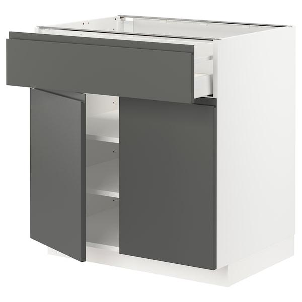 METOD / MAXIMERA Mobile con cassetto/2 ante, bianco/Voxtorp grigio scuro, 80x60 cm