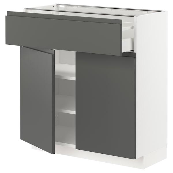METOD / MAXIMERA Mobile con cassetto/2 ante, bianco/Voxtorp grigio scuro, 80x37 cm