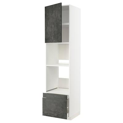 METOD / MAXIMERA Mobile forno/forno combi/cass/2cass, bianco/Kalhyttan effetto cemento grigio scuro, 60x60x240 cm