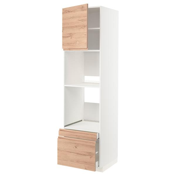 METOD / MAXIMERA Mobile forno/forno combi/cass/2cass, bianco/Voxtorp effetto rovere, 60x60x220 cm