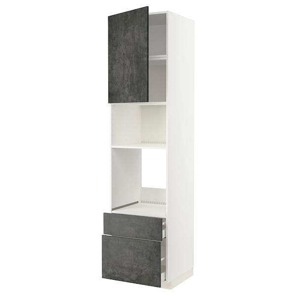 METOD / MAXIMERA Mobile forno/microond/anta/2cassett, bianco/Kalhyttan effetto cemento grigio scuro, 60x60x240 cm