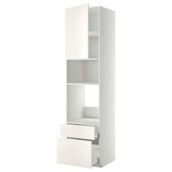 METOD / MAXIMERA Mobile forno/microond/anta/2cassett, bianco/Veddinge bianco, 60x60x240 cm